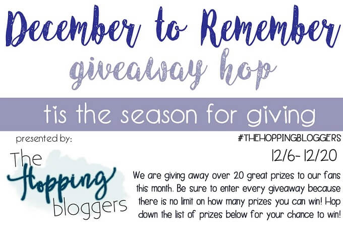 Welcome to the December to Remember Giveaway Hop. Start by entering to win a $15 Amazon gift card here then hop to each blog for more chances to win prizes.