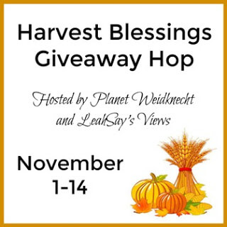 Welcome to the Harvest Blessings Giveaway Hop where 34 bloggers have gathered to celebrate blessings by giving you the opportunity to enter giveaways and win fabulous prizes! Good Luck!
